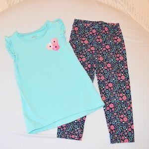 Girls Flowered shirt with Matching leggings